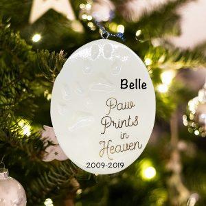 Personalized Pet Memorial Paw Prints Christmas Ornament