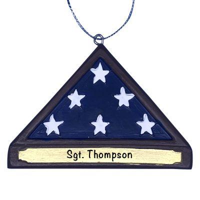 Military American Flag Memorial Hero Personalized Christmas Ornament