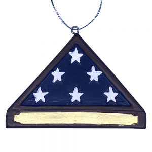 Military American Flag Memorial Hero Personalized Christmas Ornament -Blank