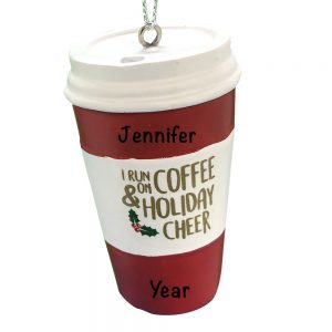 Coffee Holiday Cheer Personalized Christmas Ornament