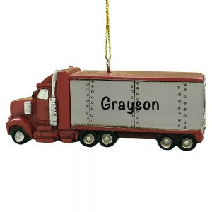 Truck Tractor Trailer Personalized Christmas Ornament