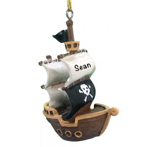 Pirate Ship 3D Personalized Christmas Ornament