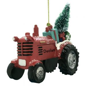 Red Christmas Tractor Personalized Christmas Ornament
