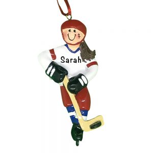 Ice Hockey Player Girl Personalized Christmas Ornament