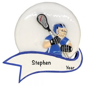 Lacrosse Boy Banner Personalized Christmas Ornament