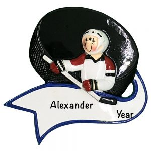 Ice Hockey Slap Shot Personalized Christmas Ornament