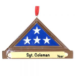 American USA Flag Soldier Memorial Personalized Ornament