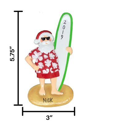 Surfing Santa Personalized Christmas Ornament