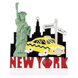 New York Landmarks Personalized Christmas Ornament - Blank