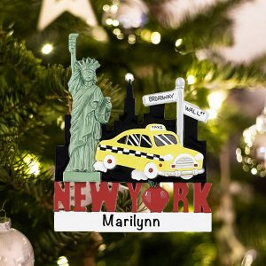 Personalized New York Landmarks Christmas Ornament