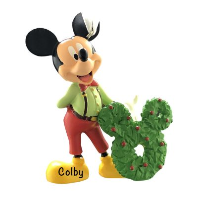 Mickey Mouse With Wreath Personalized Christmas Ornament