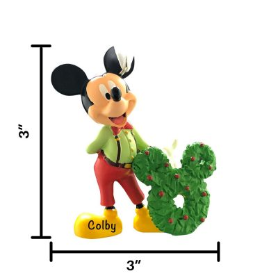 Mickey with Wreath Personalized Christmas Ornament