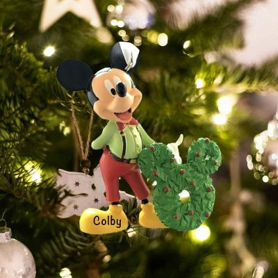 Personalized Mickey Mouse with Wreath Christmas Ornament