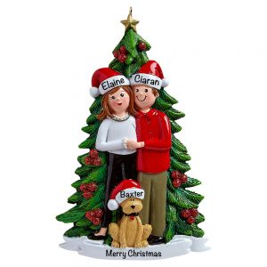 Christmas Couple With Dog Personalized Christmas Ornament