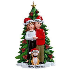 Christmas Couple With Cat Personalized Christmas Ornament