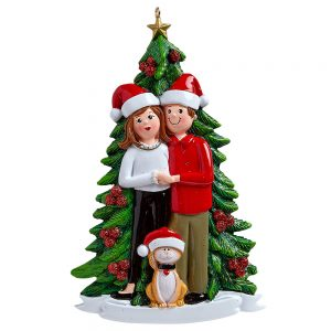 Christmas Couple With Cat Personalized Christmas Ornament - Blank