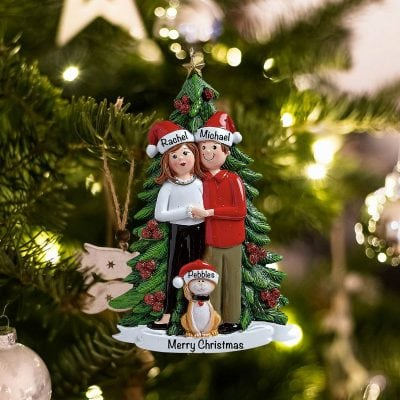 Personalized Christmas Couple with Cat Christmas Ornament
