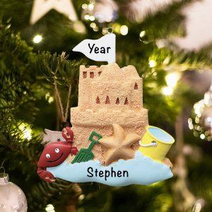 Personalized Sand Castle Beach Christmas Ornament