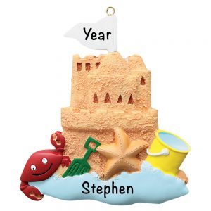 78 Sand Castle Beach Personalized Christmas Ornament