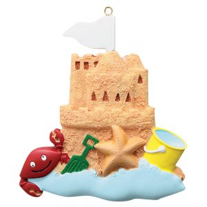 Sand Castle Beach Personalized Christmas Ornament - Blank