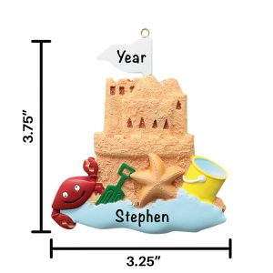 Sand Castle Personalized Christmas Ornament