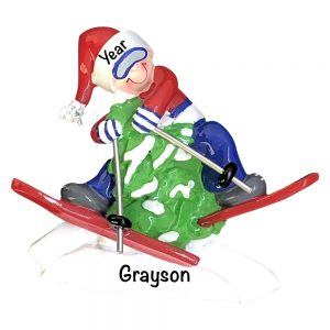 Skiing Fun Personalized Christmas Ornament