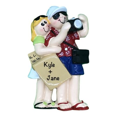 Sightseeing Travel Couple Personalized Christmas Ornament