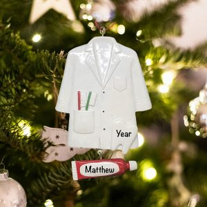 Personalized Dentist Coat Christmas Ornament
