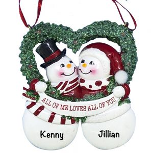 Wreath Snow Couple Personalized Christmas Ornament