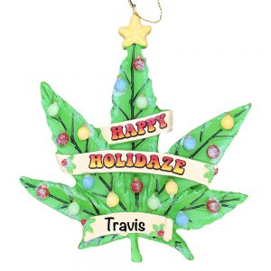 Cannabis Leaf Personalized Christmas Ornament