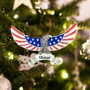 Personalized Patriotic Eagle Christmas Ornament