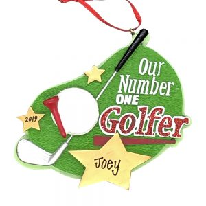 #1 Golfer Raw Personalized Christmas Ornament