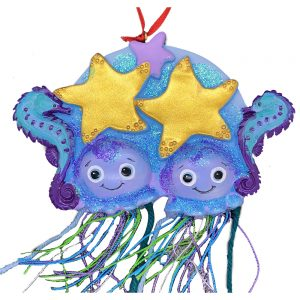 Jellyfish Couple Personalized Christmas Ornament - Blank