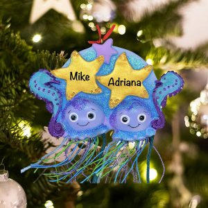 Personalized Jellyfish Couple Christmas Ornament