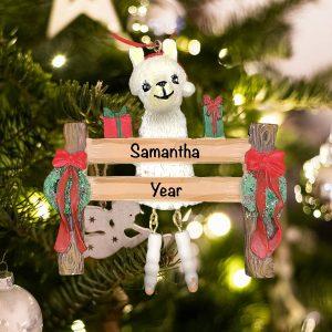 Personalized Llama Christmas Ornament