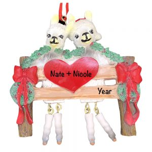 Llama Couple Personalized Christmas Ornament