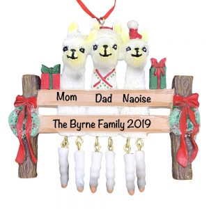 Llama Family of 3 Personalized Christmas Ornament