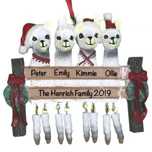 Llama Family of 4 Personalized Christmas Ornament