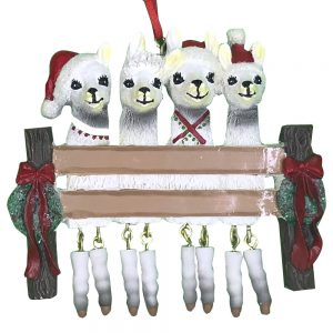 Llama Family of 4 Personalized Christmas Ornament -Blank
