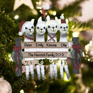 Personalized Llama Family of 4 Christmas Ornament
