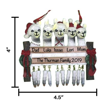 Llama Family of 5 Personalized Christmas Ornament