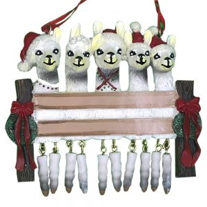 Llama Family of 5 Personalized Christmas Ornament - Blank