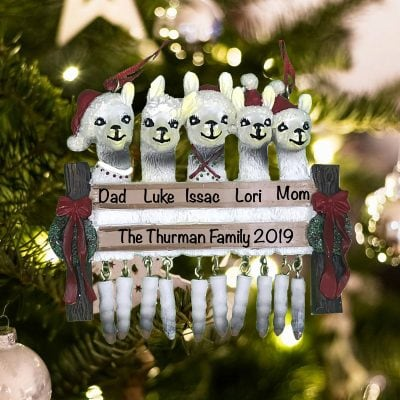 Personalized Llama Family of 5 Christmas Ornament