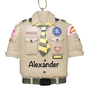 Boy Scouts Tan Shirt Personalized Christmas Ornament