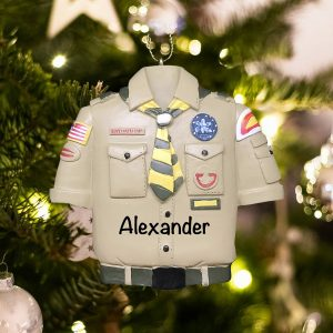 Personalized Boy Scouts Tan Shirt Christmas Ornament