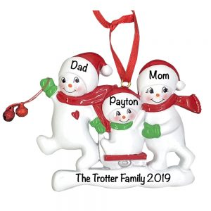 Snowmen Sled Family of 3 Personalized Christmas Ornament