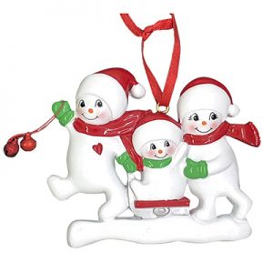 Snowmen Sled Family of 3 Personalized Christmas Ornament Blank