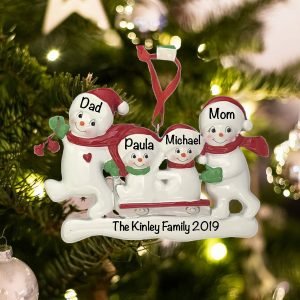 Personalized Snowman Sled Family of 4 Christmas Ornament