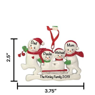 Snowmen Sled Family of 4 Personalized Christmas Ornament
