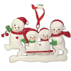 Snowmen Sled Family of 4 Personalized Christmas Ornament - Blank